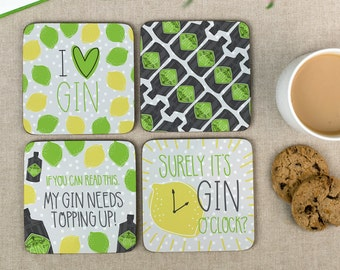 Gin Coasters - Funny Gin Lovers Set