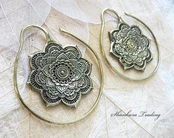 Tribal Brass Ear Weights, Brass Ear Expanders, Mandala Brass Expanders, Brass Tribal Earrings, Lotus Mandala Expanders, Brass Ear Weights