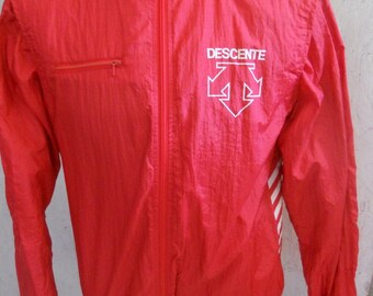 Vintage Red Descente Windbreaker Light Weight Jacket Size Large