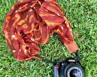 Whimsical scarf camera strap > maroon fox || for Nikon, Canon, and DSLR photography