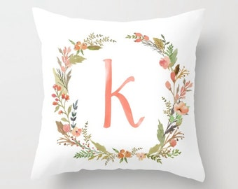 Floral Name Pillow - Choose your colors! Completely customizable, multiple sizes.
