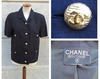 CHANEL - 80s Chanel Boutique Linen Jacket Size M