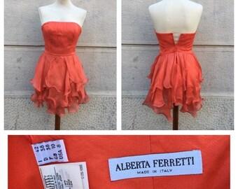 SALE -20% 90s Alberta Ferretti Organza Silk Dress Size S