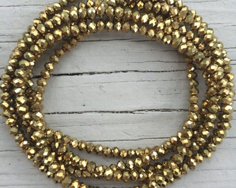 6mm Gold Wrap Necklace // sparkly