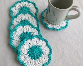 Crocheted Blue & White Coasters, Set of 5