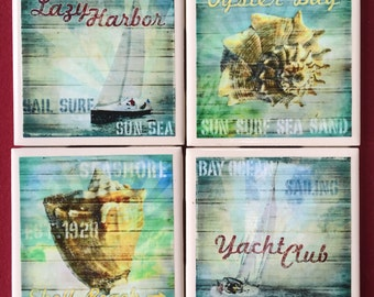 Oyster Bay Ceramic Tile Coasters // Gifts for Her // Gifts for Him // Summer // Housewarming