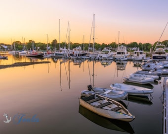 Limited Edition ~ Wickford Evenings ~ Wickford, Rhode Island, Sunset, Boats, Wickford Harbor, Summer, Fine Art Canvas, New England