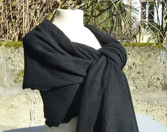SHAWL 100% black cashmere knit Zig Zag knit handmade 70X180cm thick fluffy blanket