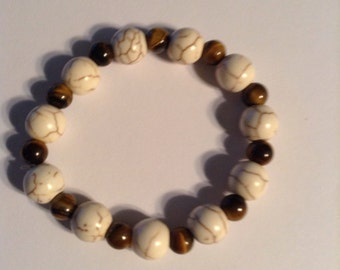 Bracelet ( White Turquoise And  Tigers Eye)