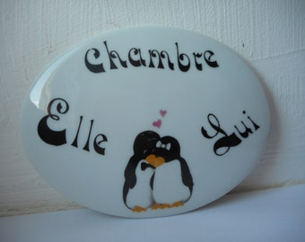 vintage Limoges porcelain decorative chambre / bedroom door plaque