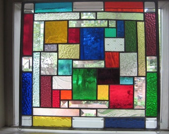 Squarely  Colored--rainbow hued stained glass panel window suncatcher