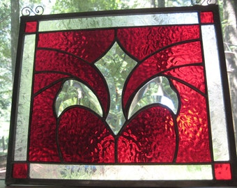 SIMPLY RED stained glass panel window suncatcher NEW with bevel cluster