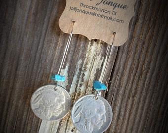 Indian Nickel earrings, Vintage Buffalo nickel, Dangle earrings, Silver Dangle earrings