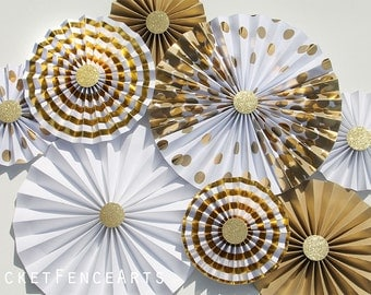 White and Gold Paper Rosettes, Paper Fans Backdrop, Wedding Backdrop, Wedding Decor, Bridal Shower, Metallic, Shimmer, Gold and White