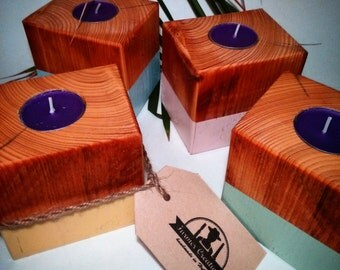 Wooden tealight candle holder. Handmade of reclaimed pallet block . In four fresh pastel colors