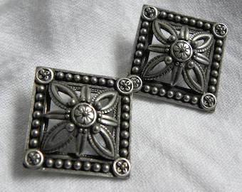 Signed JJ square medallion earrings,