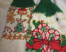 VINTAGE HOLIDAY 50 /  Holiday Kitchen Towel with Crochet Accent - Set of Two