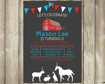 Farm Birthday Invitation - Petting Farm - Pony Rides - Barnyard Birthday - DIGITAL FILE