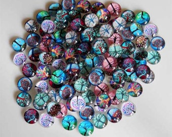 10 Trees Mixed Design Round Glass Cabochons 10mm (033)