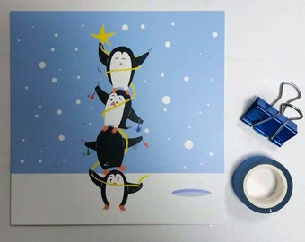 Penguin Christmas Tree - Greeting Card