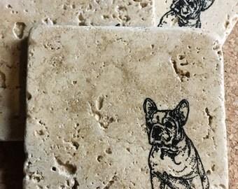 French Bulldog Coasters ~ Set of 4 Stone Coasters  ~ Stamped Coasters~ Stone Tile Coasters ~ Set of 4 Coasters