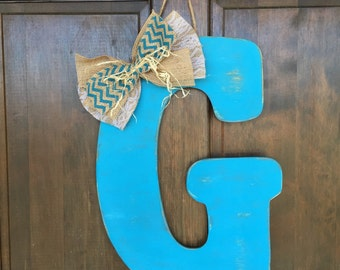 Wooden Initial Door Hanger choose your color