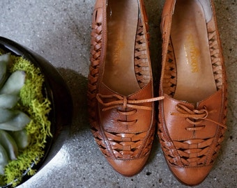 Genuine Tan Leather Woven Flats Size 7