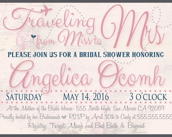 Traveling from Miss to Mrs - Bridal Shower Invite