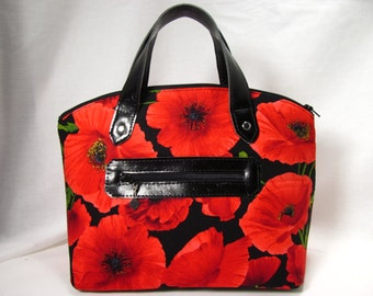 """READY to SHIP--""""The Lola"""" Domed Handbag-Featuring Red-Orange Poppies on Black Background"""