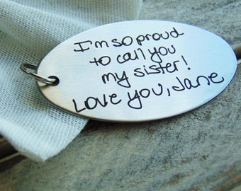 Custom Engraved Key chain - Font Text or Actual Handwriting - Christmas Gift -