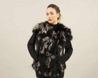 MRDline 6608008 Handmade black and silver fox fur vest with a mao collar. Classical and elegant.