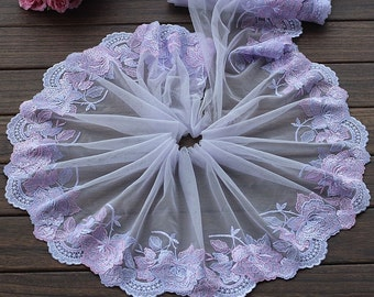 High Quality Purple Floral Embroidered Lace Trim  Tulle Lace Trim 7.87 Inches Wide 2 yards X0149