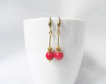 coral earrings, red earrings, boho chic earrings, ethnic earrings, vintage style earrings, coral drop earrings, bridesmaids gift