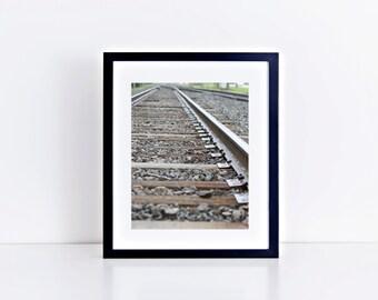 Train Track Photograph // 5x7 Print // 8x10 Print // Train Photography // Train Tracks Print // Train Track Decor // Train Gift // Railway