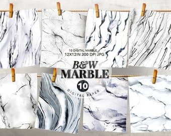 B&W Marble Digital Papers, Marble texture, Marble background, Marble tile, Marble print, Marble Wallpaper, Invitation Card, Wedding clipart