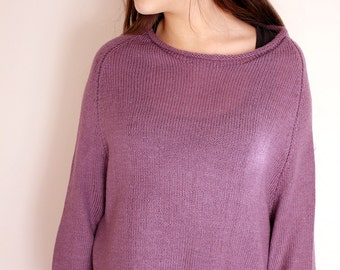 Hand Knit Sweater Women Lilac Sweater Oversize Loose Knit Sweater Lightweight Sweater Purple Knit Jumper Loose Pullover Spring Fashion
