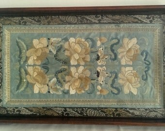 Antique mahogany tray with chinese silk