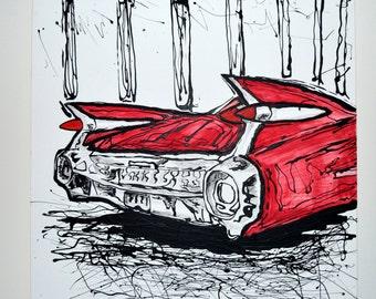 1959 Cadillac Painting, FREE SHIPPING