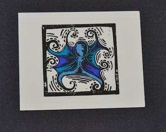 Octopus Linocut Print