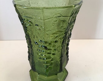 Anchor Hocking Vase~ Green with Grapes and Leaves Design ~ Green Vase ~ Shabby Chic ~Retro~ Vintage
