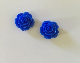 Royal Blue Rose Resin Earrings (14.5MM)