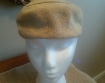 Soft Taupe Vintage Hat with Multi Color Stone Accent.