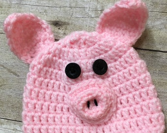 Newborn pig hat, baby pig hat, baby crochet pig hat, pig photo prop, pink pig hat, pig hat, crochet pig hat