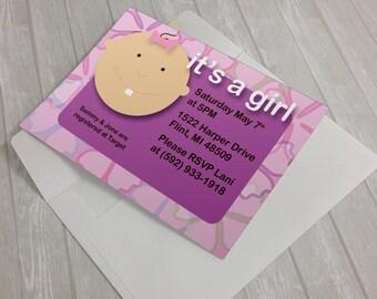 girl baby shower invitation, *** DIY PRINTABLE PDF ***