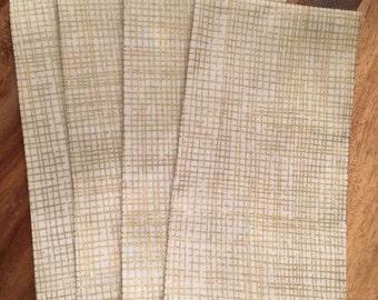 Metallic gold crosshatch napkins-Set of 2 or 4