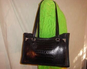 Black Leather/Moc Croc Brighton Tote Bag