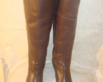 Brown Leather J CREW Knee Boots 9 1/2M