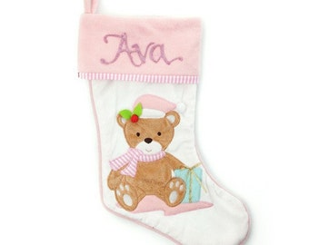 Personalised Baby Pink Teddy Bear Christmas Stocking
