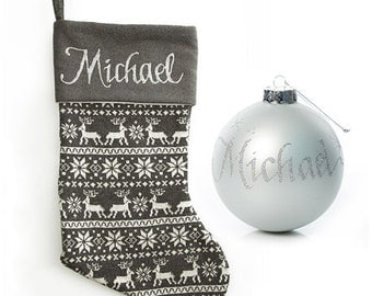 Personalised Grey Knitted Stocking and Bauble Pack