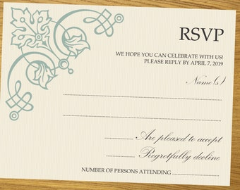 RSVP template, Printable RSVP, diy RSVP template, R.S.V.P. design, all colors available, 4.5 x 6.5 inches, #001-003